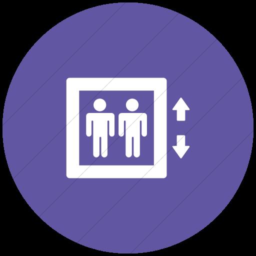 Flat Circle White On Purple Foundation Elevator Icon