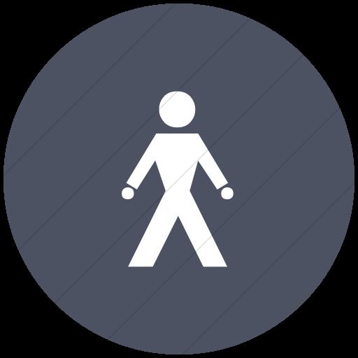 Flat Circle White On Blue Gray Classica Walking Man Icon