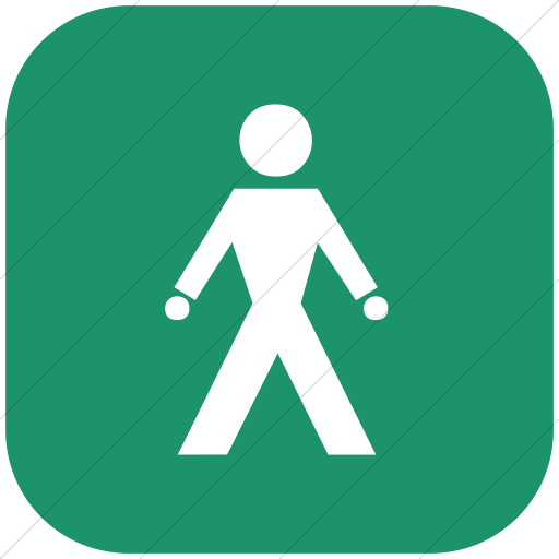 Flat Rounded Square White On Aqua Classica Walking Man Icon