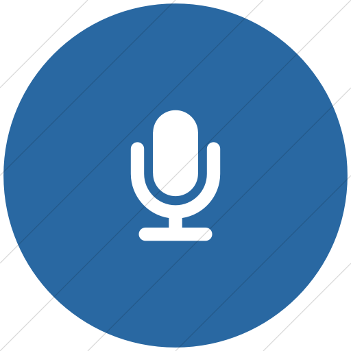 Flat Circle White On Blue Foundation Microphone Icon