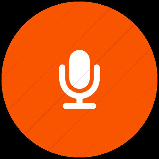 Flat Circle White On Orange Foundation Microphone Icon