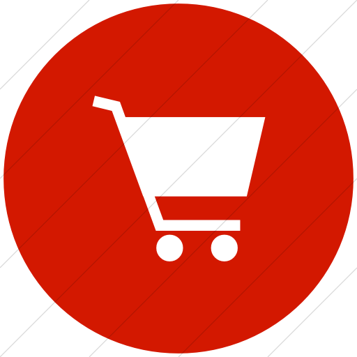 Flat Circle White On Red Classica Shopping Cart Icon