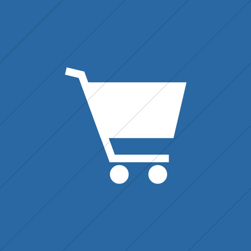 Flat Square White On Blue Classica Shopping Cart Icon