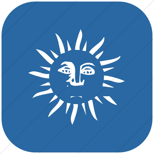 Flat Rounded Square White On Blue Classica Sun Face Icon