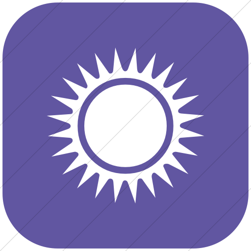 Flat Rounded Square White On Purple Classica Black Sun