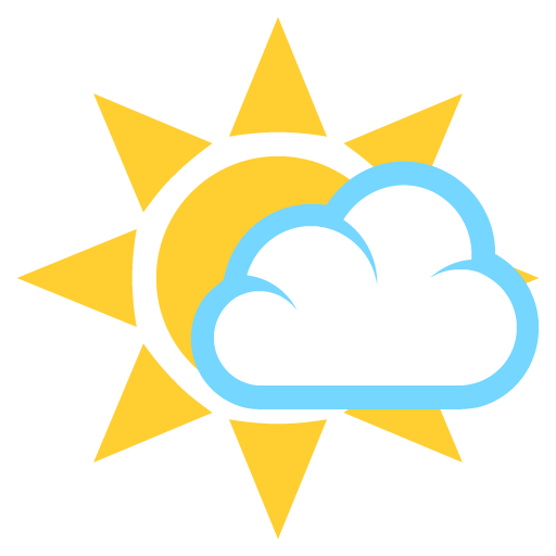 White Sun With Small Cloud Emoji For Facebook, Email Sms Id