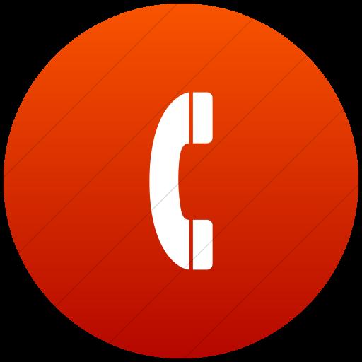 Flat Circle White On Red Gradient Aiga Telephone Icon