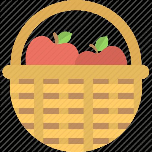 Apple, Apple Basket, Fruit, Fruit Basket, Wicker Basket Icon