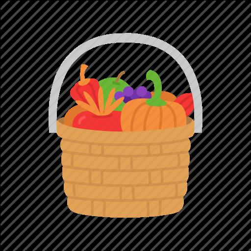 Basket, Fruit Basket, Thanksgiving, Wicker Basket Icon