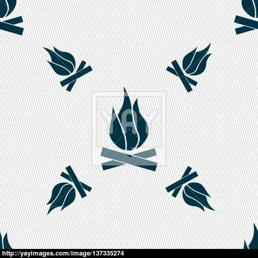 A Fire Icon Sign Seamless Pattern With Geometric Texture Vector