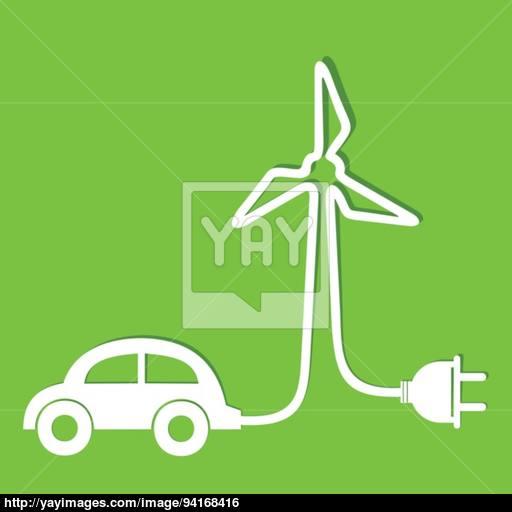 Eco Car Make A Wind Mill Icon Vector