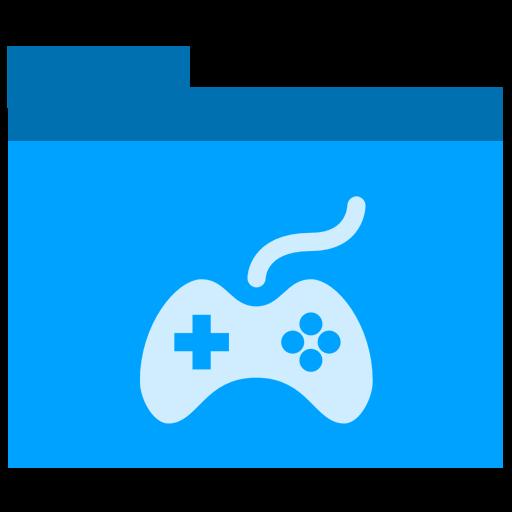 Games, Folder Icon Free Of Phlat Blue Folders Icons