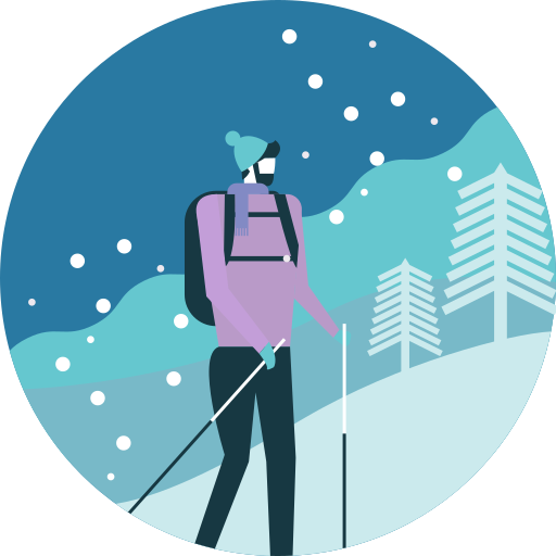Activity, Backpack, Hiking, Man, Mountain, Tree, Winter Icon Free