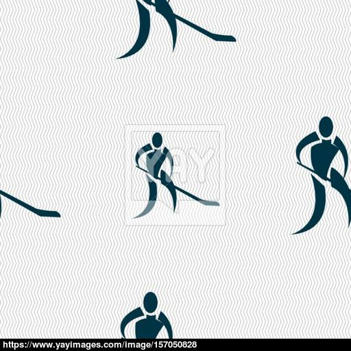 Winter Sport, Hockey Icon Sign Seamless Pattern With Geometric