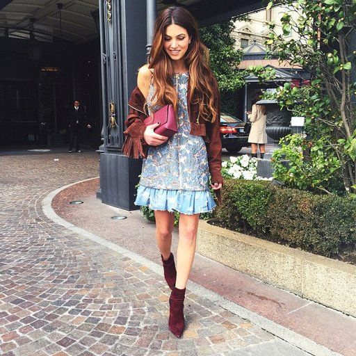 Negin Mirsalehi Wears A Blue Dress And Red Accessories