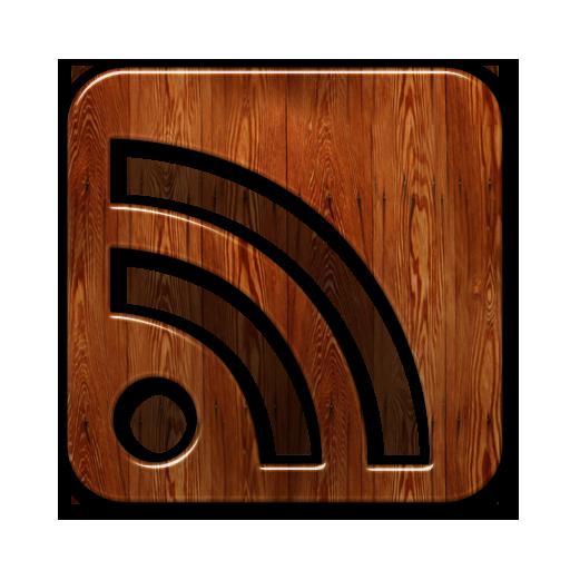 Glossy Waxed Wood Icon Social Media Logos Rss Cube