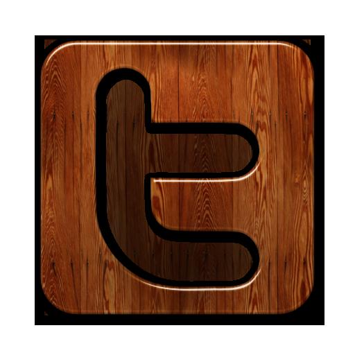 Glossy Waxed Wood Icon Social Media Logos Twitter Logo