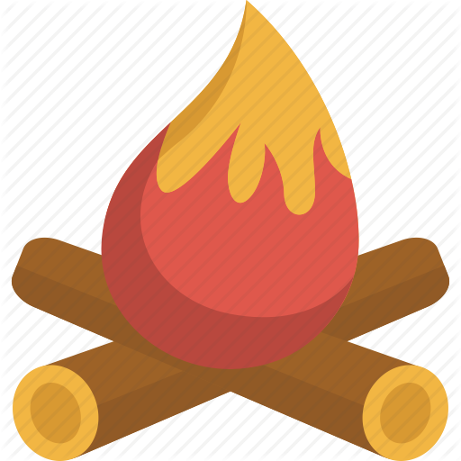 C Camp Fire, Fire, Hot, Warm, Wood Icon