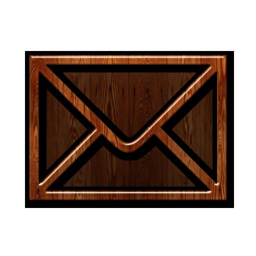 Envelope, Mail, Wood Icon