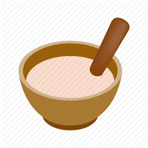 Bowl, Cooking, Cream, Isometric, Spoon, Wooden, Wooden Spoon Icon