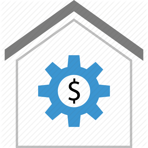 Dollar, Gear, Home, House, Sign, Work Icon