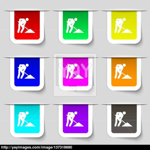 Repair Of Road, Construction Work Icon Sign Set Of Multicolored