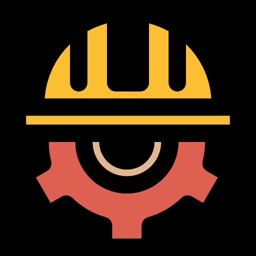 Helmet, Gear, Cogwheel, Construction, Worker Icon