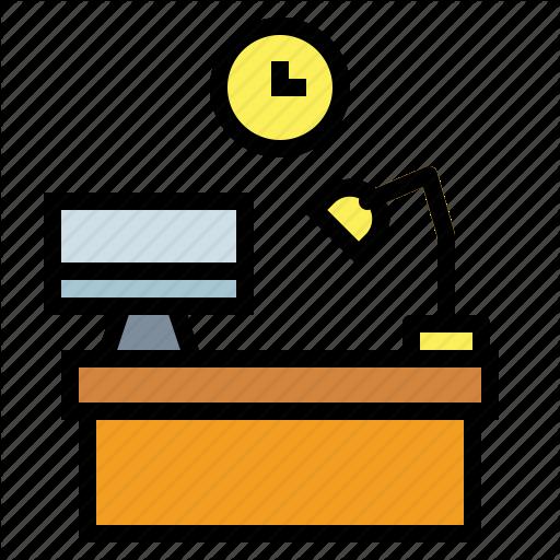 Computer, Desk, Office, Workspace Icon