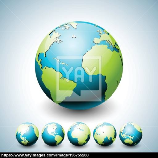 Earth Globe Illustration With Planet On Six Variations World Map
