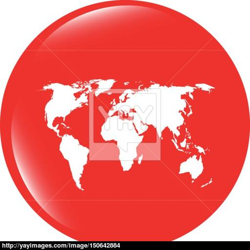 Vector Globe Icon, Earth World Map On Web Button Vector