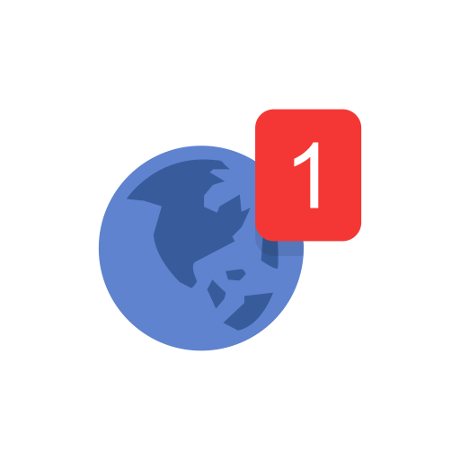 Globe, Notification, World Map, One Notification Icon