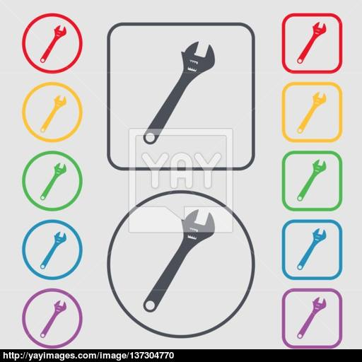 Wrench Icon Sign Symbol On The Round And Square Buttons