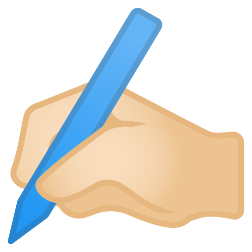 Writing Hand Light Skin Tone Icon Noto Emoji People Bodyparts