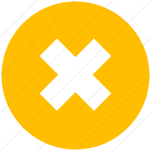 Flat Circle White On Yellow Classica Letter X Icon