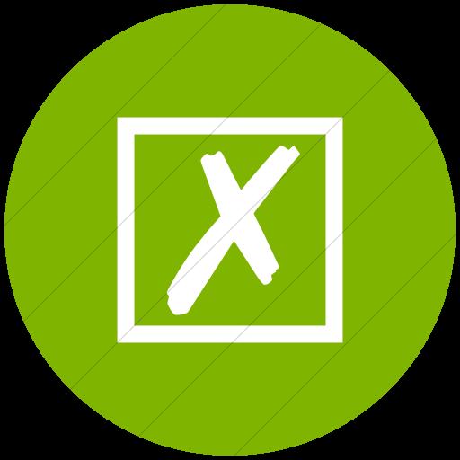 Flat Circle White On Green Classica Ballot Box With X Icon
