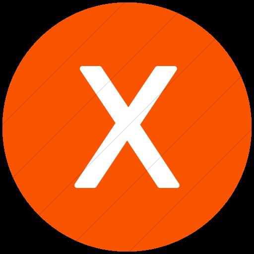 Flat Circle White On Orange Alphanumerics Uppercase