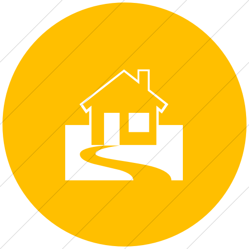 Flat Circle White On Yellow Classica Home With Yard Icon