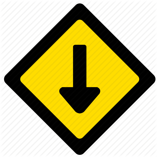 Arrow, Attention, Bottom, Road, Sign, Yellow Icon