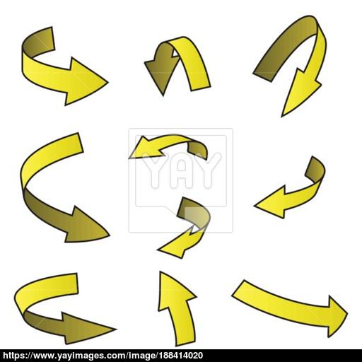 Yellow Arrow Symbol, Curved Icon Business Concept Set Vector