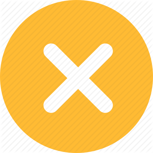 Cancel, Close, Delete, Exit, Stop, Wrong, Yellow Icon