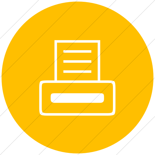 Flat Circle White On Yellow Classica Computer Printer Icon