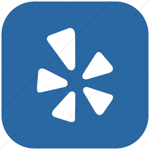 Flat Rounded Square White On Blue Social Media Yelp Icon