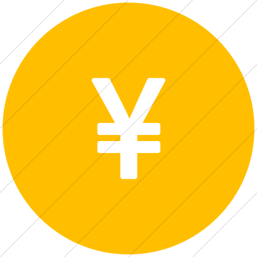 Flat Circle White On Yellow Bootstrap Font Awesome Yen Icon