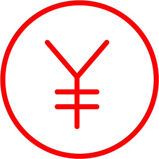 Red Japanese Yen Icon