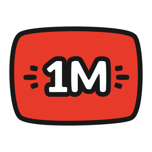 Million, Red, Views, Youtube Icon