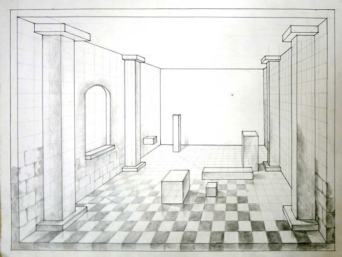 700x526 Draw A Room In 1 Point Perspective. Art Lesson.
