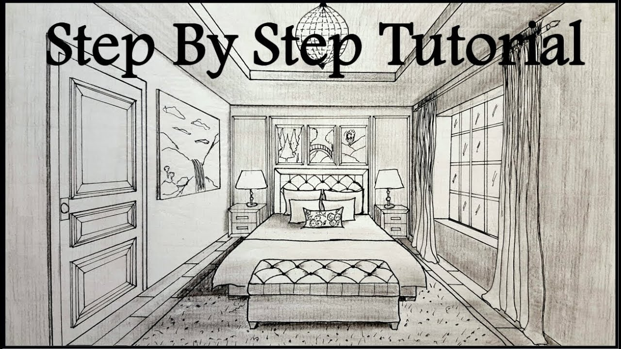 1280x720 How To Draw A Bedroom In One Point Perspective Step By Step