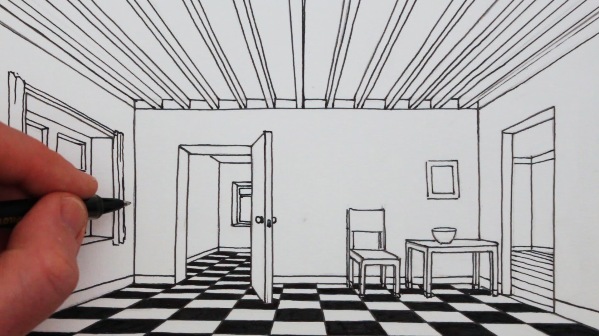1920x1080 How To Draw A Room In 1 Point Perspective Narrated Drawing
