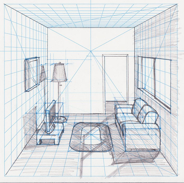 700x697 One Point Perspective Living Room Drawing On Perspective Drawings
