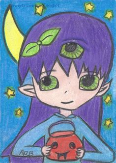 236x332 Original Aceo Anime Manga Cute Girl Artist Drawing By 10 Years Old